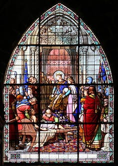 Vitrail représentant Saint-Louis et son gendre le roi de Navarre